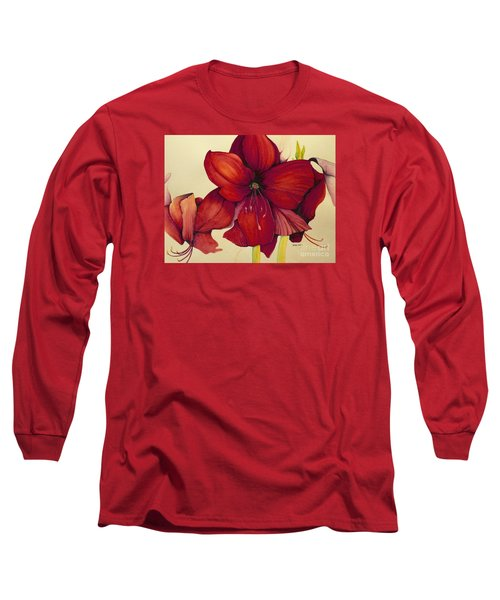Red Christmas Amaryllis Long Sleeve T-Shirt by Rachel Lowry