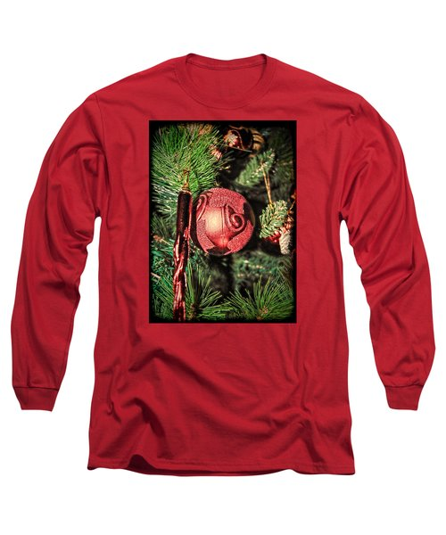 Red Christmas Ornament Long Sleeve T-Shirt by Isam Awad