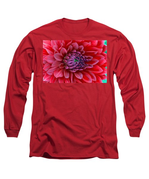 Red Dalia Up Close Long Sleeve T-Shirt
