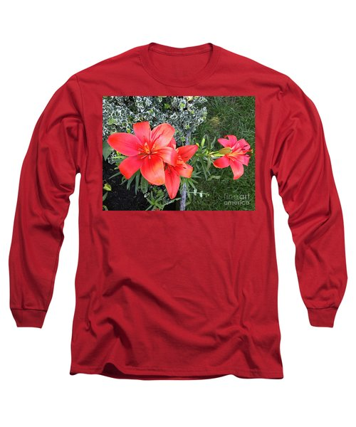 Red Day Lilies Long Sleeve T-Shirt