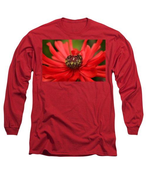 Red Flower Long Sleeve T-Shirt by Ralph A  Ledergerber-Photography