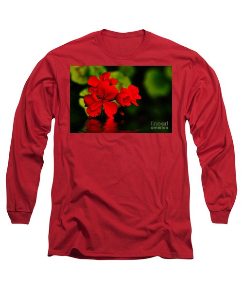Red Geranium On Water Long Sleeve T-Shirt