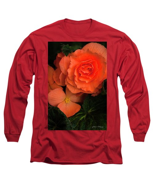 Red Giant Begonia Ruffle Form Long Sleeve T-Shirt