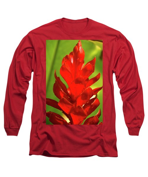 Red Ginger Bud After Rainfall Long Sleeve T-Shirt
