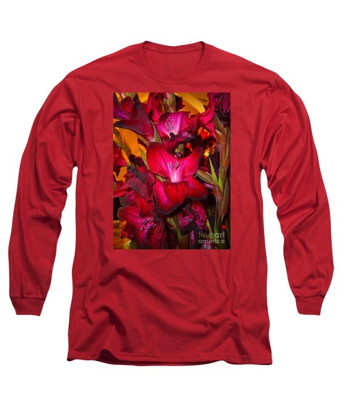 Long Sleeve T-Shirt featuring the photograph Red Gladiolus Macro Photograph by Merton Allen