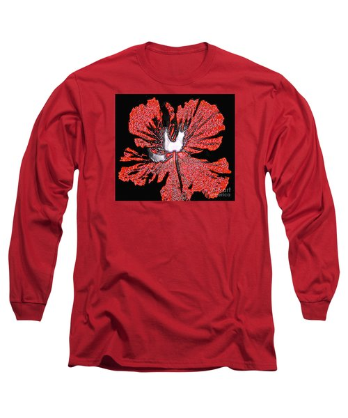 Red Hibiscus Flower In Three Dimensions Long Sleeve T-Shirt by Merton Allen