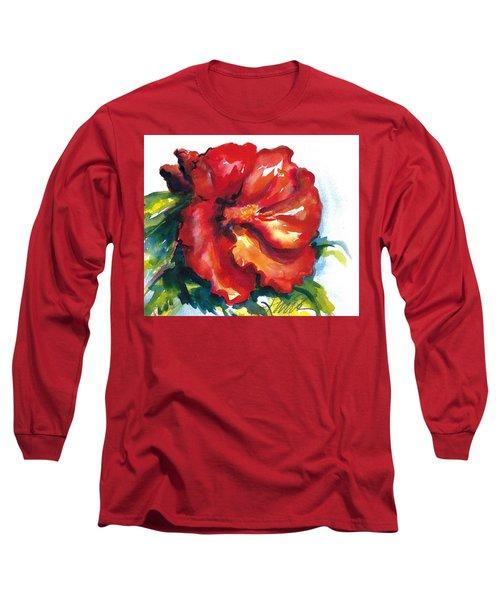 Fireball Red Hibiscus Long Sleeve T-Shirt