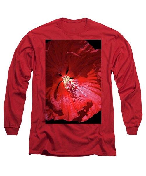 Red Hibiscus Long Sleeve T-Shirt by Judy Johnson