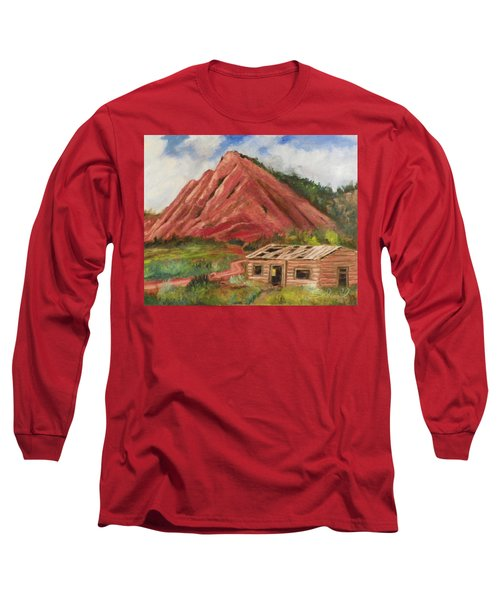 Red Hill And Cabin Long Sleeve T-Shirt by Sherril Porter