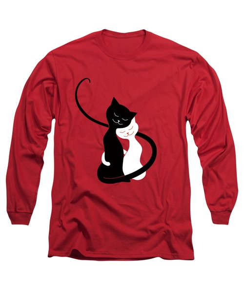 Red Hugging Love Cats Long Sleeve T-Shirt