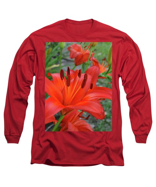 Red Lilies Long Sleeve T-Shirt by Rebecca Overton
