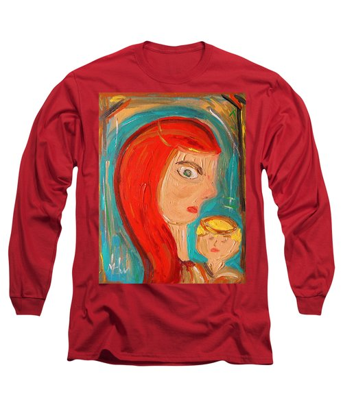 Long Sleeve T-Shirt featuring the painting Red Madonna by Mary Carol Williams