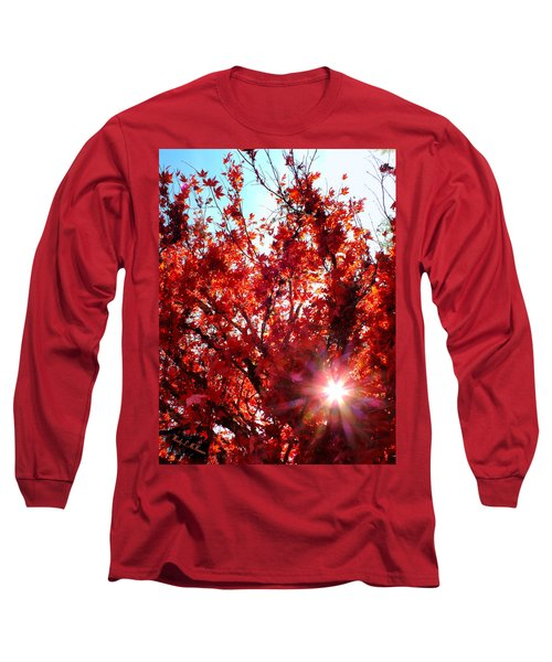 Red Maple Burst Long Sleeve T-Shirt by Wendy McKennon