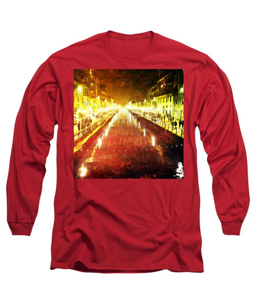 Long Sleeve T-Shirt featuring the digital art Red Naviglio by Andrea Barbieri