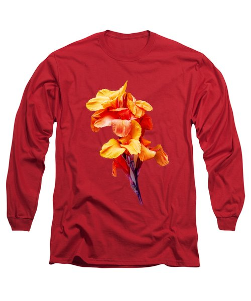 Red Orange Canna Blossom Cutout Long Sleeve T-Shirt by Linda Phelps