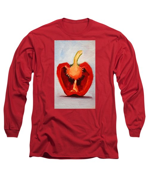 Long Sleeve T-Shirt featuring the painting Red Pepper Sliced by Nancy Merkle