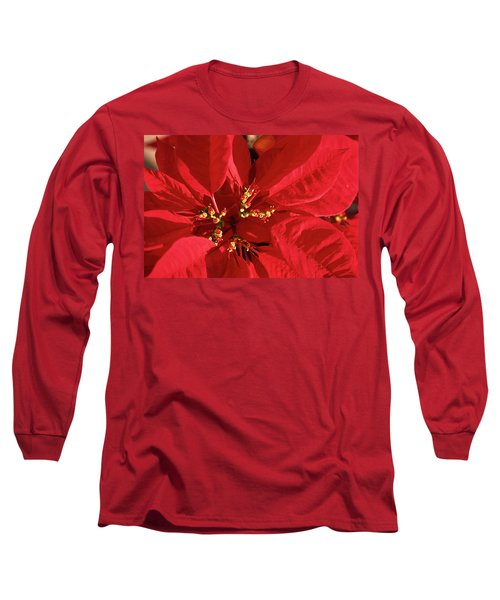 Long Sleeve T-Shirt featuring the photograph Red Poinsettia Macro by Sally Weigand