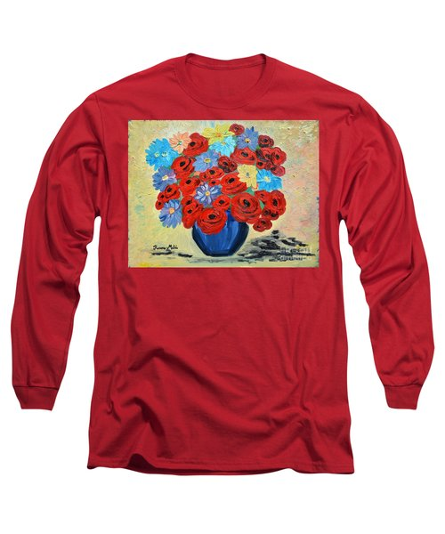 Long Sleeve T-Shirt featuring the painting Red Poppies And All Kinds Of Daisies  by Ramona Matei