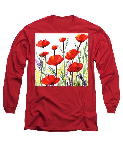 Red Poppies Art By Irina Sztukowski Long Sleeve T-Shirt by Irina Sztukowski