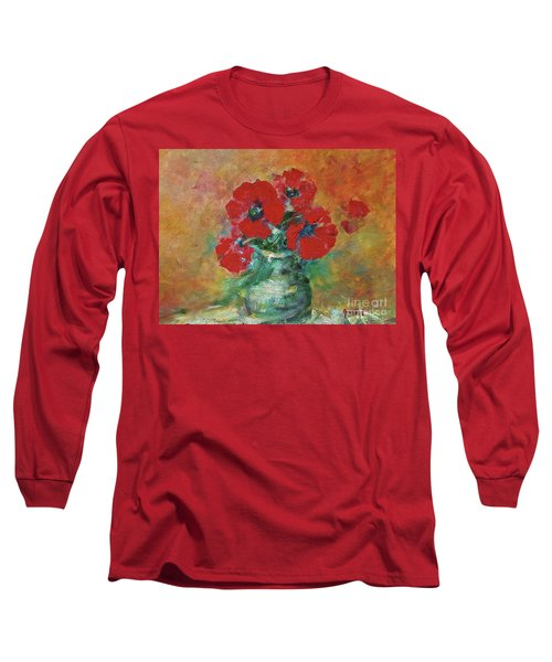 Red Poppies In A Vase Long Sleeve T-Shirt