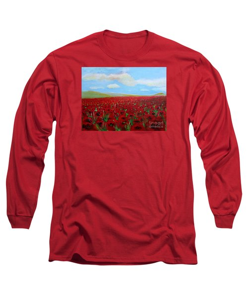 Red Poppies In Remembrance Long Sleeve T-Shirt