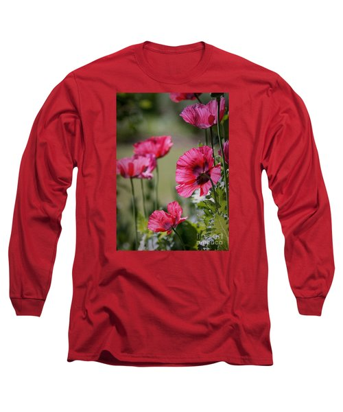 Long Sleeve T-Shirt featuring the photograph Red Poppies by Lisa L Silva