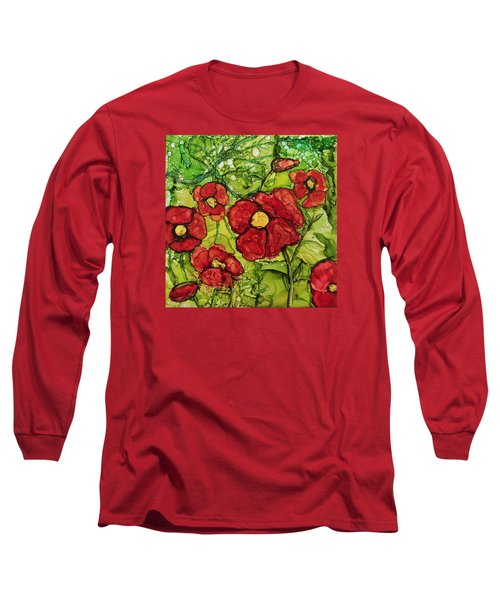 Red Poppies Long Sleeve T-Shirt by Suzanne Canner