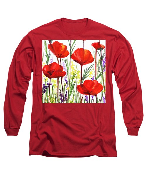 Red Poppies Watercolor By Irina Sztukowski Long Sleeve T-Shirt by Irina Sztukowski