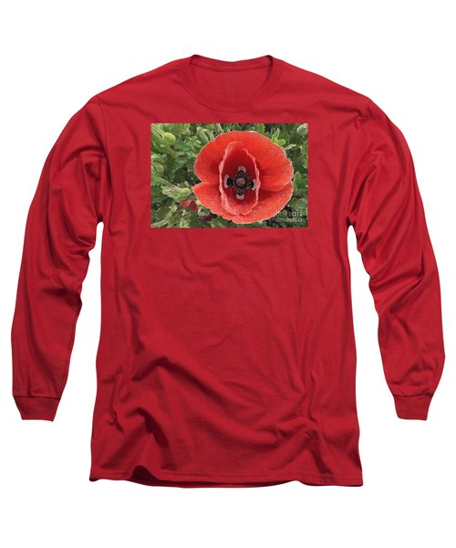 Long Sleeve T-Shirt featuring the photograph Red Poppy Flower 2 by Jean Bernard Roussilhe