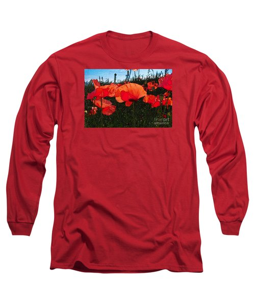 Long Sleeve T-Shirt featuring the photograph Red Poppy Flowers In Grassland by Jean Bernard Roussilhe