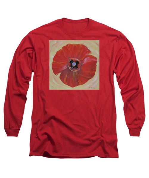 Red Poppy Long Sleeve T-Shirt by Rita Fetisov
