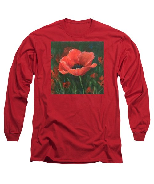 Red Poppy Long Sleeve T-Shirt by Torrie Smiley
