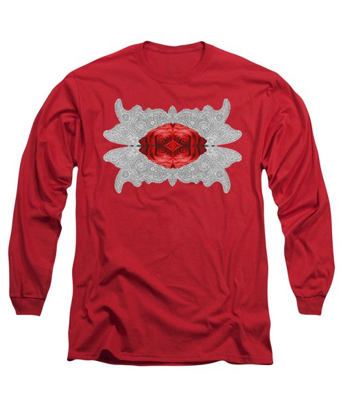 Red Rose Abstract On Digital Lace Long Sleeve T-Shirt