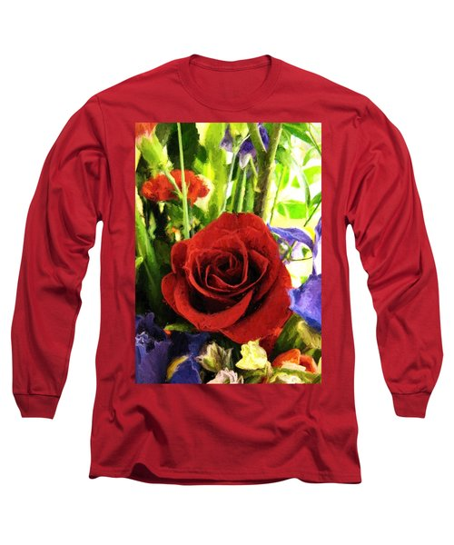 Red Rose And Flowers Long Sleeve T-Shirt