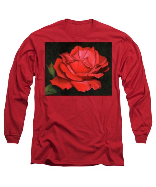 Long Sleeve T-Shirt featuring the painting Red Rose by Janet King