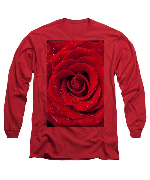 Red Rose With Dew Long Sleeve T-Shirt