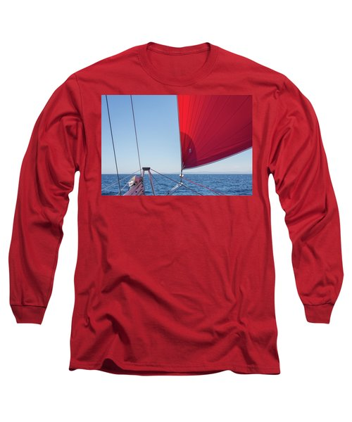 Long Sleeve T-Shirt featuring the photograph Red Sail On A Catamaran by Clare Bambers