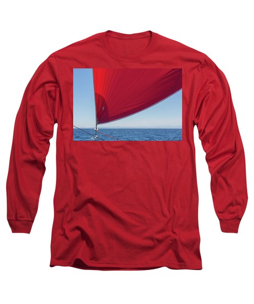 Long Sleeve T-Shirt featuring the photograph Red Sail On A Catamaran 2 by Clare Bambers