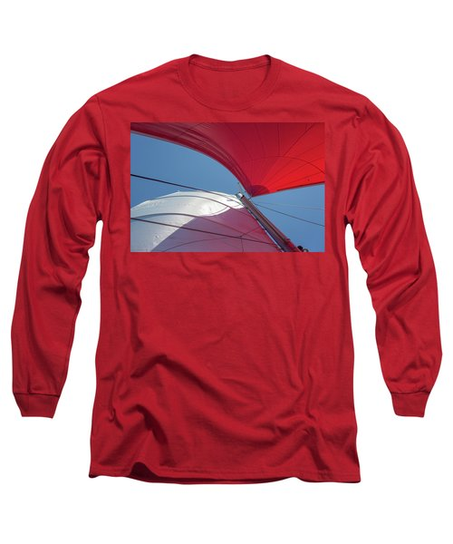Long Sleeve T-Shirt featuring the photograph Red Sail On A Catamaran 3 by Clare Bambers