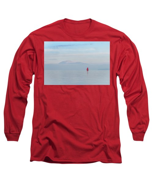 Red Sailboat On Lake Long Sleeve T-Shirt