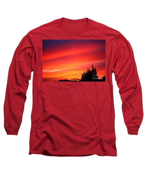 Long Sleeve T-Shirt featuring the photograph Red Skies At Night  by Nick Gustafson