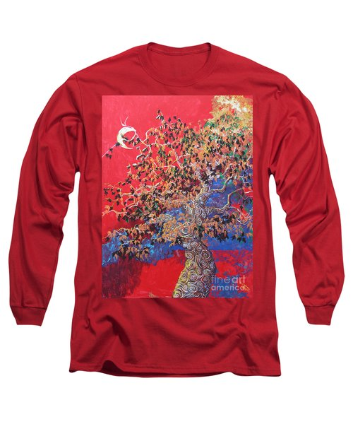 Red Sky And Tree Long Sleeve T-Shirt