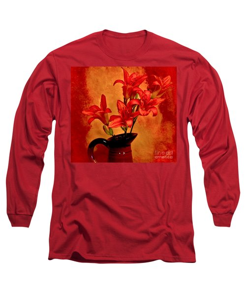Red Tigerlilies In A Pitcher Long Sleeve T-Shirt by Marsha Heiken