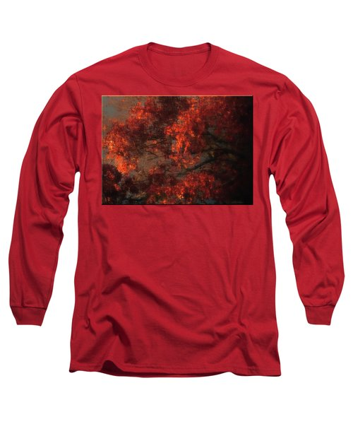Red Tree Scene Long Sleeve T-Shirt by Mikki Cucuzzo