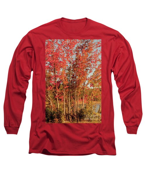 Long Sleeve T-Shirt featuring the photograph Red Trees by Iris Greenwell