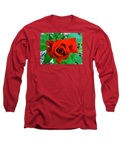 Long Sleeve T-Shirt featuring the photograph Red Velvet Rose by Sadie Reneau
