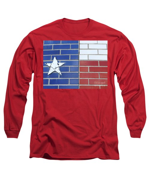 Red White Blue With Star Long Sleeve T-Shirt by Erick Schmidt
