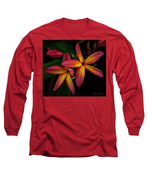 Red/yellow Plumeria In Bloom Long Sleeve T-Shirt
