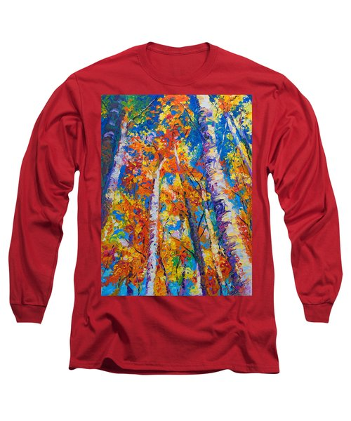 Redemption - Fall Birch And Aspen Long Sleeve T-Shirt by Talya Johnson