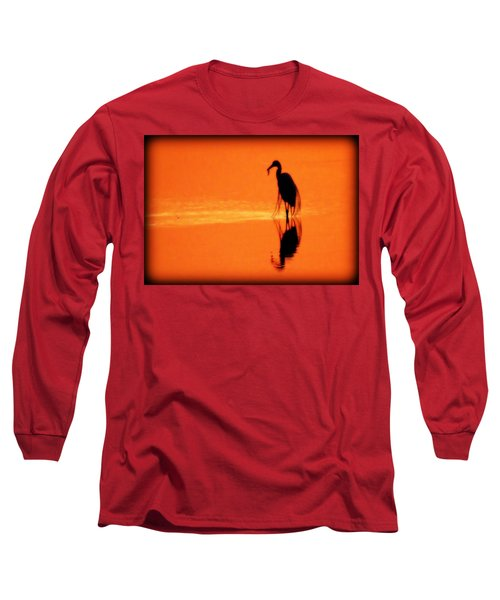 Reflections Of A Heron Long Sleeve T-Shirt
